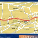 Mapa: cómo llegar del aeropuerto al centro de Edimburgo