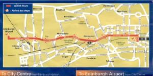 Mapa de aeropuerto centro de Edimburgo